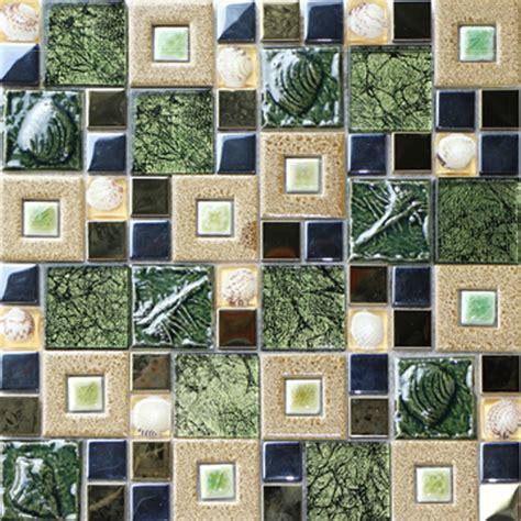 shell veneer green mosaic bathroom tiles vintage fireplace