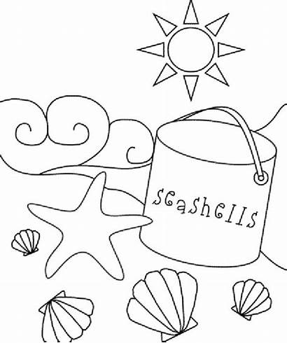 Coloring Beach Pages Printable Sea Shell