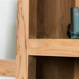 colonne de rangement en bois teck massif l 190 cm With colonne salle de bain bois massif