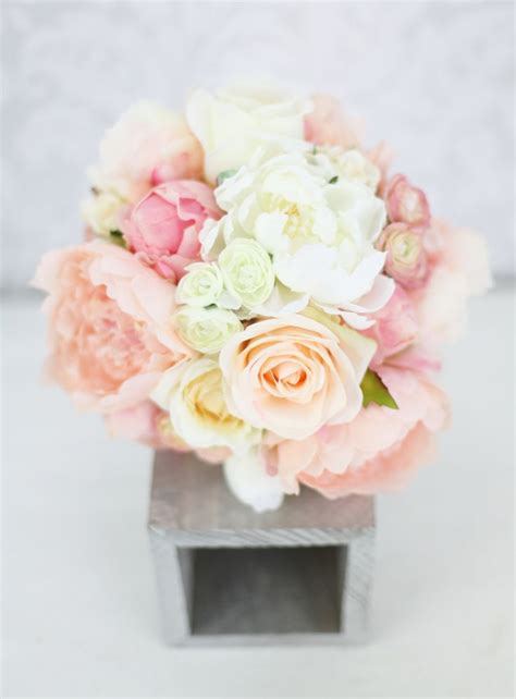 Silk Bride Bouquet Peony Flowers Pink Peach Cream Spring