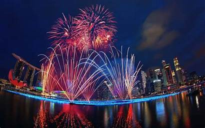 Fireworks Singapore Marina Bay Night Water Sands