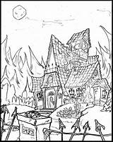 Haunted Deviantart Coloring Pages Halloween Colouring Printable Scary Sheets Print Books Diy sketch template