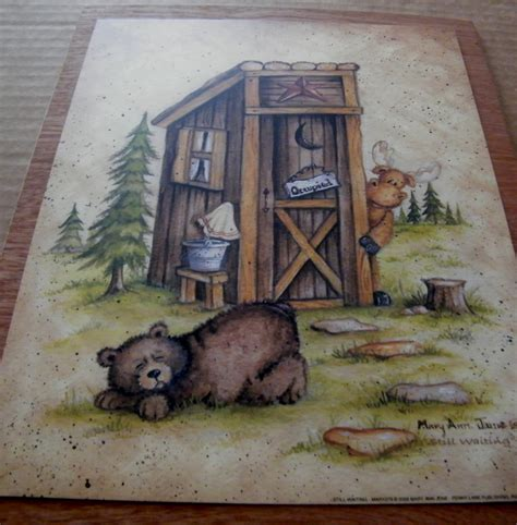 Primitive Outhouse Bathroom Decor by Wood Country Primitive Bathroom Outhouse Sign Moose