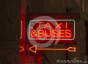 Red Neon Sign Indoor Signage Arrow Pointing Taxi Buses
