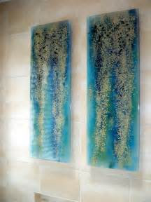 Tuscan Bathroom Wall Decor by Fused Glass Wall Art Quot Blue Rainforest Quot Designer Glass