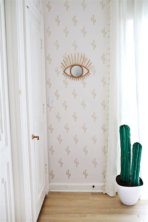gold cactus wallpaper diy  beautiful mess