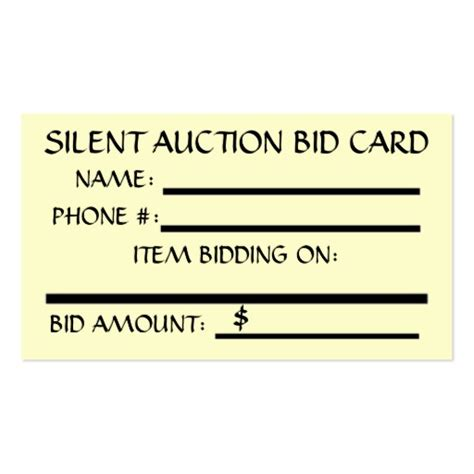 Auction Bid Cards Template Silent Auction Bid Card In Sided Standard