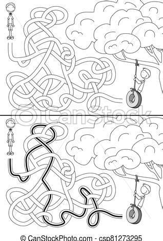 Pneumatico, altalena, labirinto. Altalena, bambini, pneumatico, bianco, labirinto, nero, soluzione. | CanStock