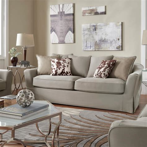 down filled slipcovered sofa homesullivan sydney 1 piece grey down filled slipcovered