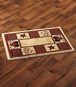 """Rustic Primitive Country Hearts & Berries Accent Rug 22"""" x"""