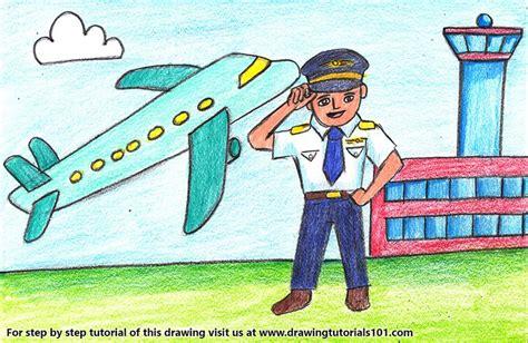 cartoon pilot colored pencils drawing cartoon pilot