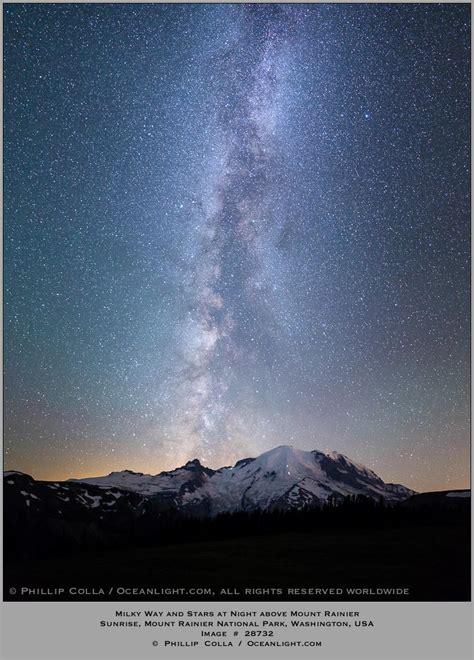 Milky Way Galaxy Night The Sky Over Mount Rainier