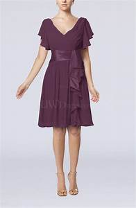 plum romantic short sleeve zip up knee length sash wedding With romantic dresses for wedding guests