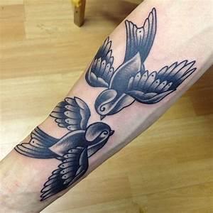 Two Birds Tattoo On Arm | Tattooshunt.com