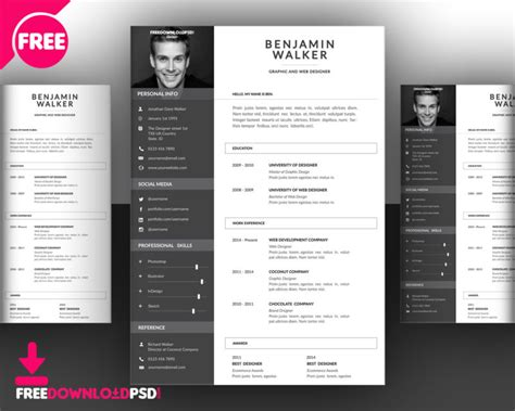 Attractive Cv Templates by Clean Resume Template Free Psd Freedownloadpsd