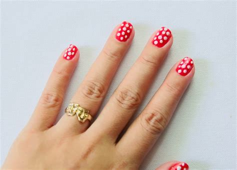 paint polka dot nails   toothpick  steps