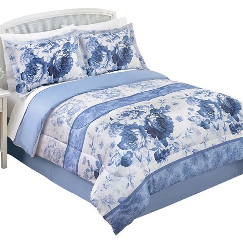 julianne blue and white floral comforter set by