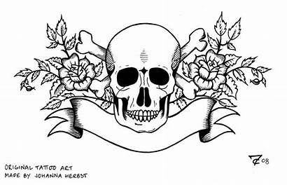 Skull Tattoo Coloring Pages Tattoos Lineart Deviantart