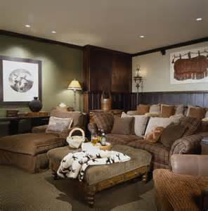 Living Room With Leather Sectional by Dark Wainscoting Home Theater Rustic With Cozy Media Room