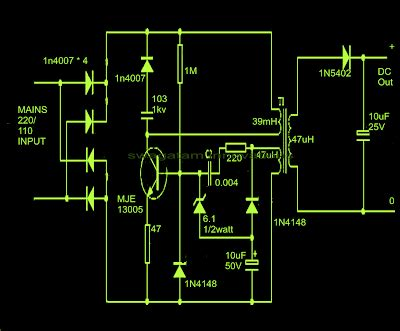 Cheapest Smps Circuit Using Mje Diagram