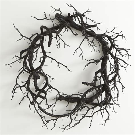 creepy black branch wreath  green head