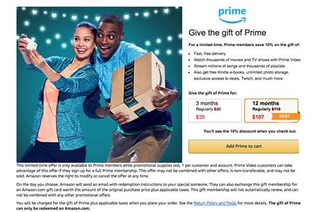prime amazon membership deal sweetening gift discount card subscription plus