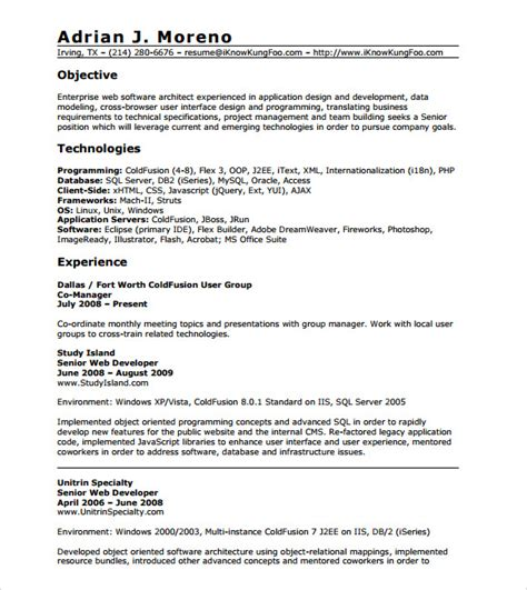 1 Year Experience Resume Format by Php Developer Resume Template 9 Free Documents