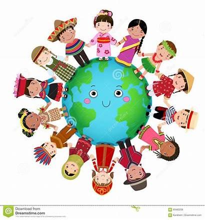 Children Multicultural Around Holding Hand Illustration Vector