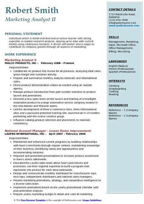 Marketing Analyst Resume Sle by Marketing Analyst Resume Sles Qwikresume