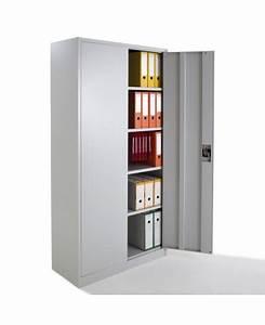 Armoire De Bureau Métallique : armoire de bureau m tallique portes battantes monobloc h180xl80xp38cm ~ Melissatoandfro.com Idées de Décoration