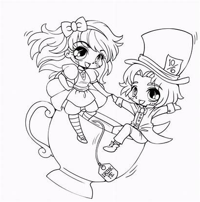 Coloring Chibi Pages Characters Friends Cartoon Anime
