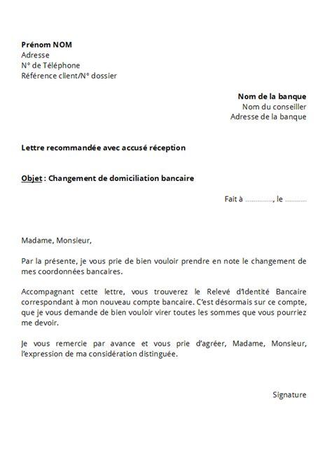 Modification De Poste by Modele Lettre Changement Coordonnees Bancaires