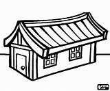 Oriental Coloring Houses Pages Oncoloring sketch template