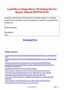 Land Rover Range Rover Workshop Service Repair Manual By