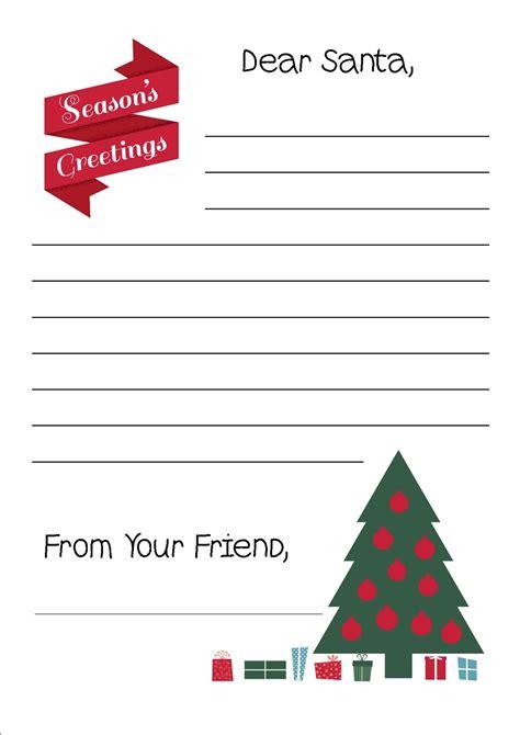 printable letter  santa writing paper