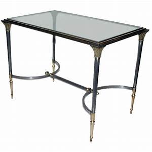 small brass and steel with glass inset coffee table With small brass and glass coffee tables