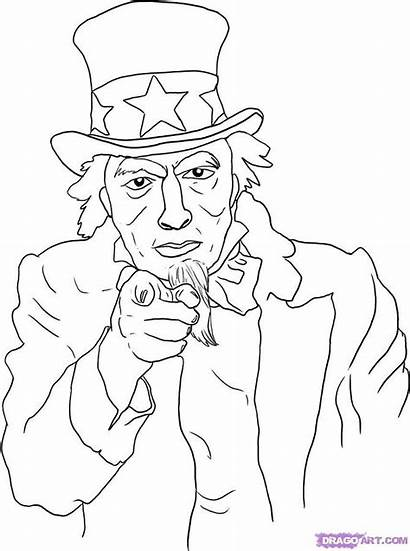 Uncle Sam Draw Drawing Coloring Am Step