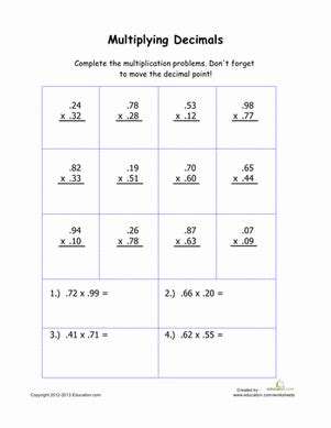 printables multiplying decimals worksheet