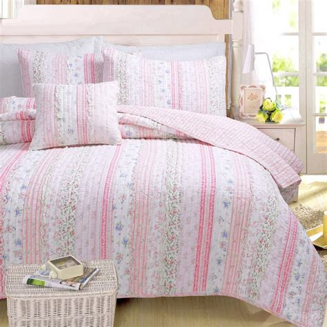 Coverlet Quilts by Pink Chic Lace Quilt Set Ruffle Rag Shabby