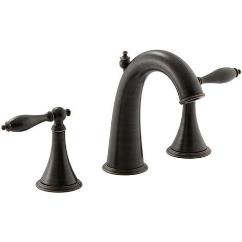 kohler rubbed bronze kitchen faucet shop kohler finial oil rubbed bronze 2 handle widespread watersense bathroom faucet drain