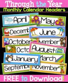 Free Printable Calendar Headers Months
