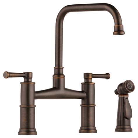 brizo kitchen faucet canada two handle bridge kitchen faucet with spray 62525lf rb