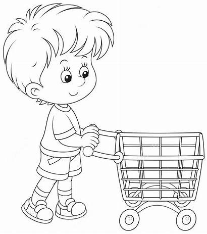 Shopping Trolley Boy Coloring Compras Carrinho Cartoon