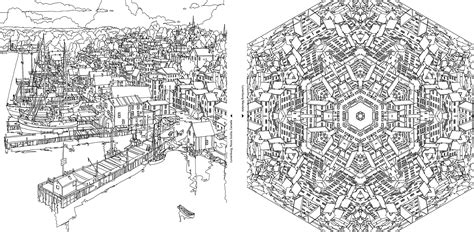an extremely detailed coloring book for architecture