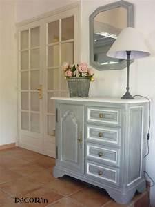 Meuble Gris Et Blanc : meuble bas style louis xii peint gris patin dessus peint et vieilli en blanc id e relooking ~ Teatrodelosmanantiales.com Idées de Décoration