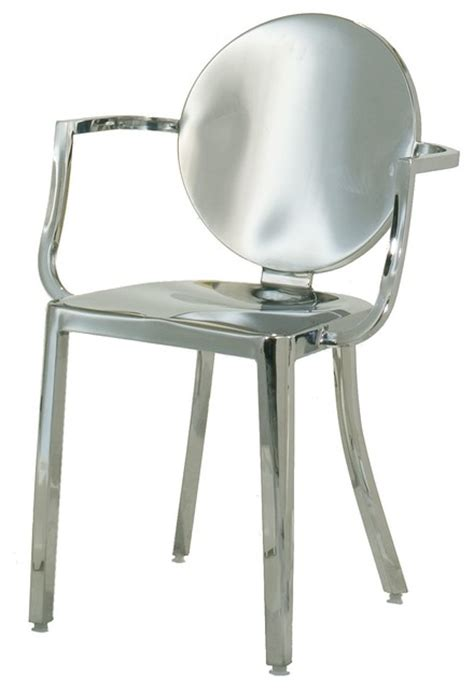 indoor stainless steel dining chair polished