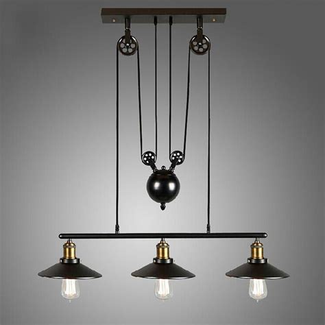 chandeliers and lighting fixtures loft vintage pulley pendant ceiling light hanging l