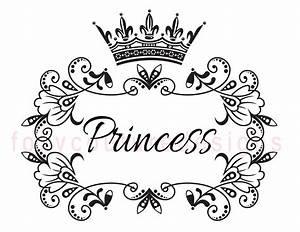 Princess With Crown Vintage Large Image Word Digital Image