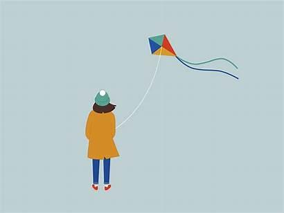 Kite Dribbble Cartoon Gifs Pagtanda Kwentong Animation