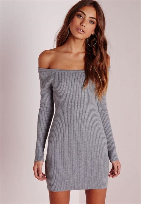 Off Shoulder Knitted Ribbed Sweater Dress Grey | Missguided